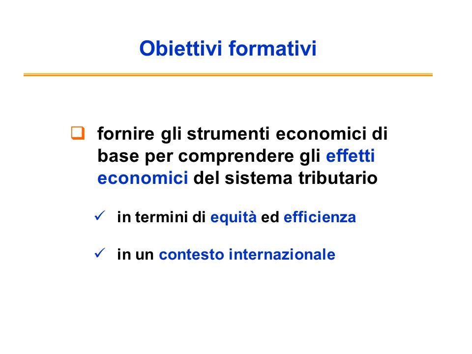 Obiettivi formativi fornire gli strumenti economici di base per comprendere gli effetti economici del sistema tributario in termini di equità ed efficienza in un contesto internazionale