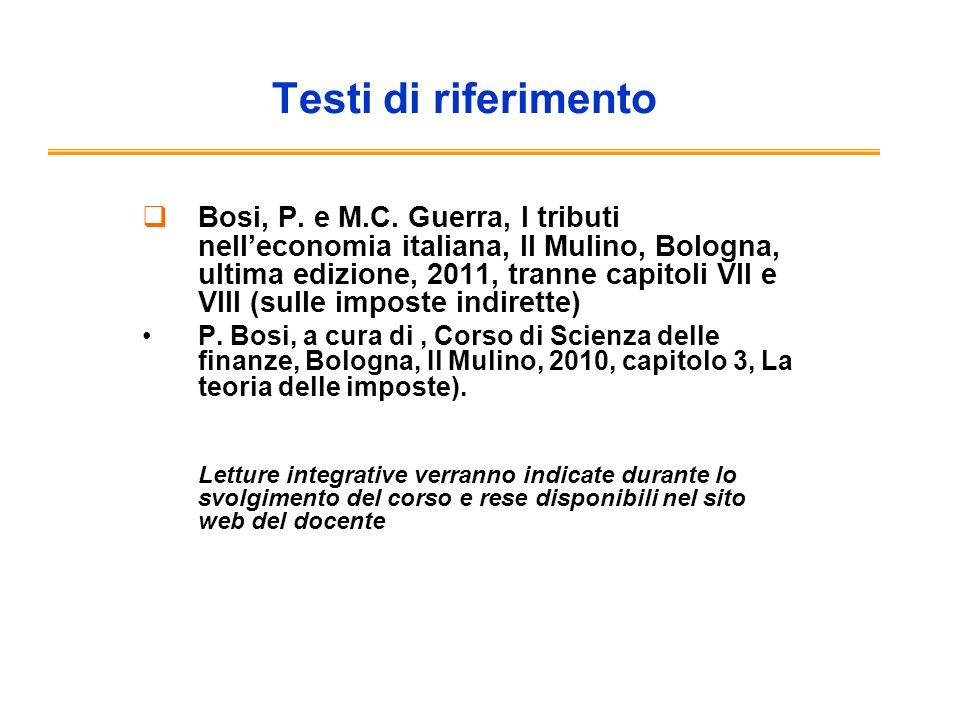Testi di riferimento Bosi, P. e M.C.