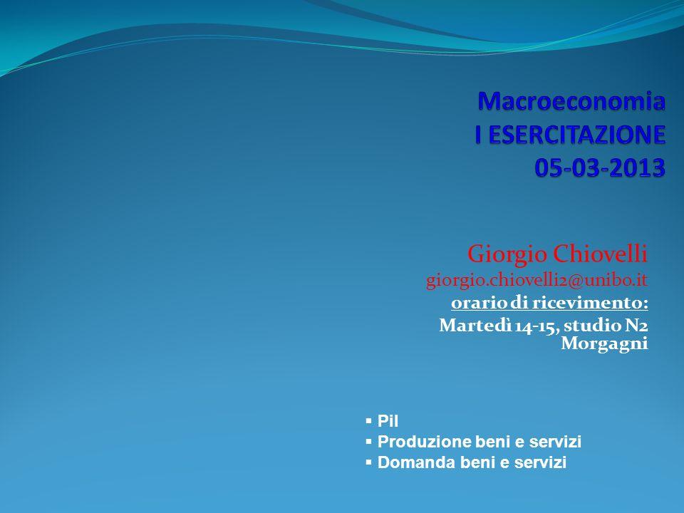 Giorgio Chiovelli giorgio.chiovelli2@unibo.it orario di ricevimento: Martedì 14-15, studio N2 Morgagni Pil Produzione beni e servizi Domanda beni e servizi