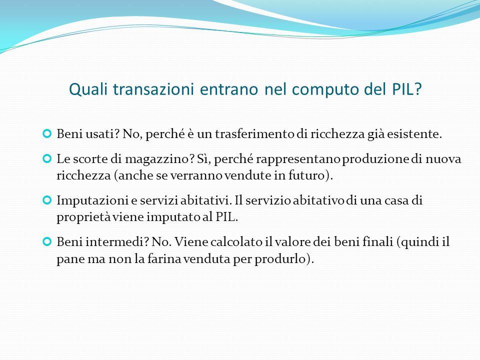Quali transazioni entrano nel computo del PIL.Beni usati.