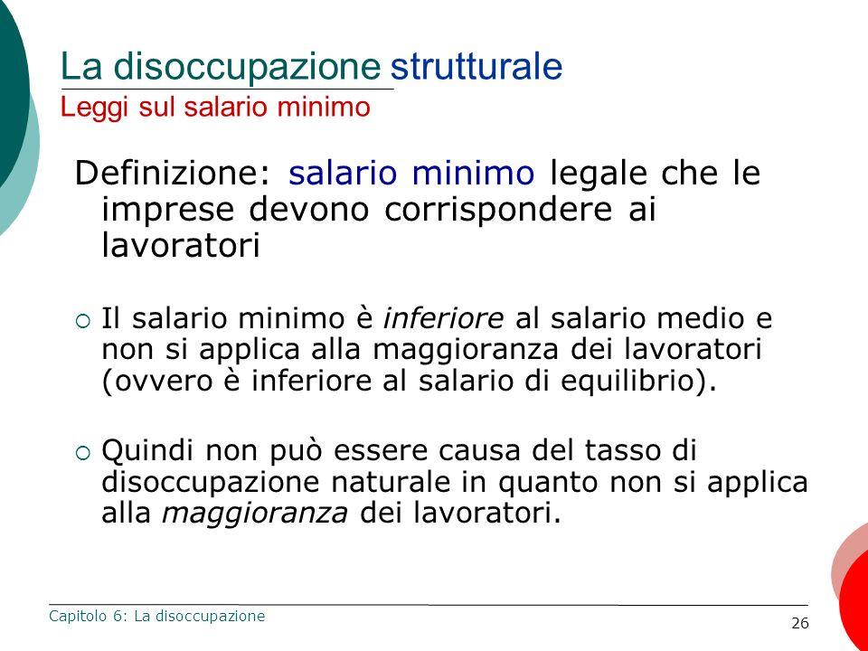 26 La disoccupazione strutturale Leggi sul salario minimo Definizione: salario minimo legale che le imprese devono corrispondere ai lavoratori Il sala
