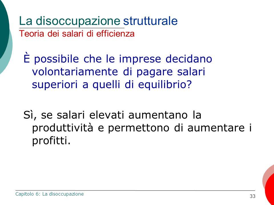 33 La disoccupazione strutturale Teoria dei salari di efficienza È possibile che le imprese decidano volontariamente di pagare salari superiori a quel
