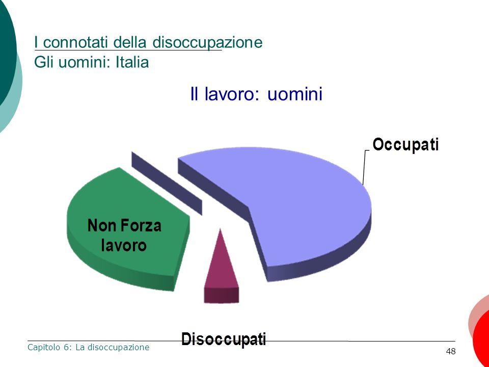 48 I connotati della disoccupazione Gli uomini: Italia Capitolo 6: La disoccupazione Il lavoro: uomini