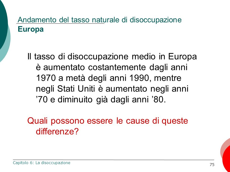 75 Andamento del tasso naturale di disoccupazione Europa Capitolo 6: La disoccupazione Il tasso di disoccupazione medio in Europa è aumentato costante