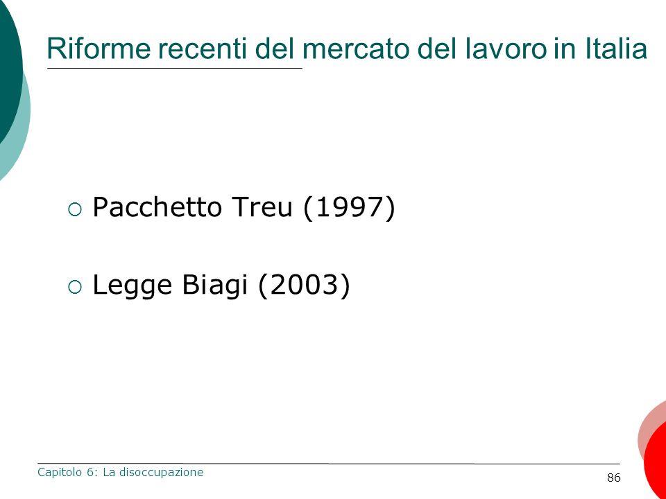 86 Riforme recenti del mercato del lavoro in Italia Pacchetto Treu (1997) Legge Biagi (2003) Capitolo 6: La disoccupazione