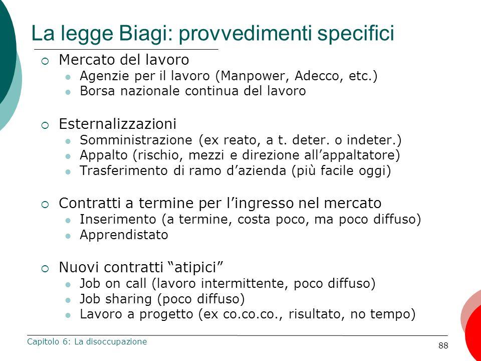 88 La legge Biagi: provvedimenti specifici Mercato del lavoro Agenzie per il lavoro (Manpower, Adecco, etc.) Borsa nazionale continua del lavoro Ester