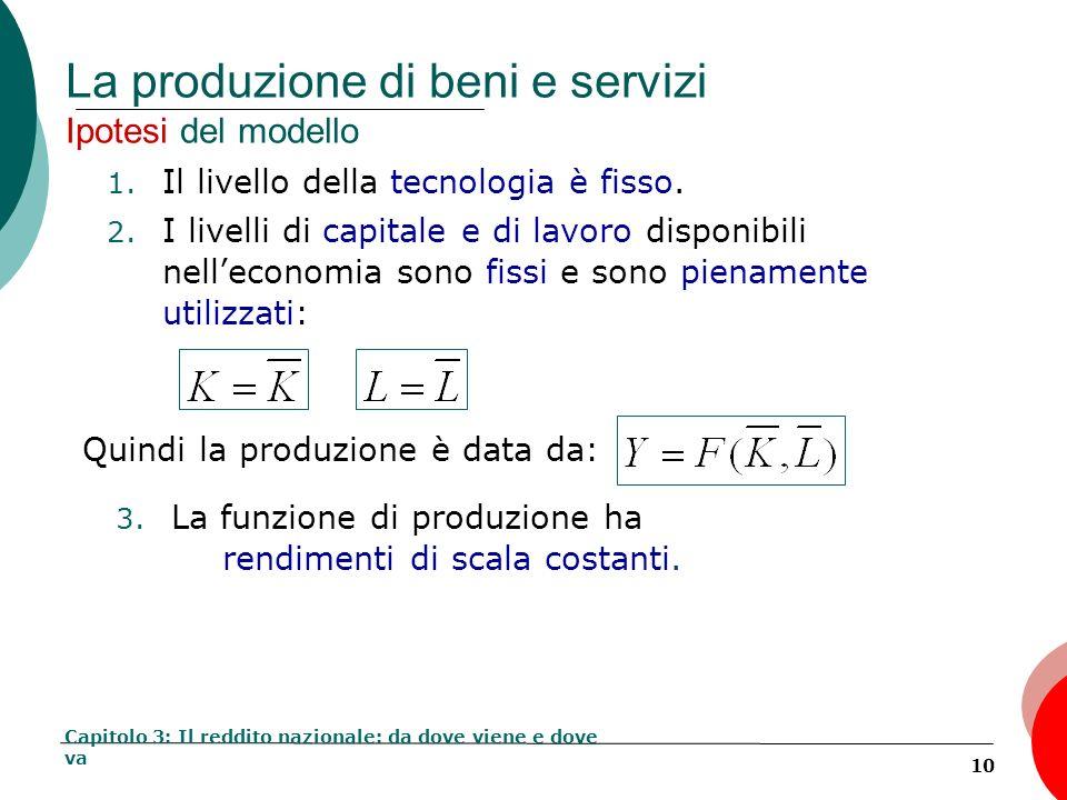 10 La produzione di beni e servizi Ipotesi del modello 1. Il livello della tecnologia è fisso. 2. I livelli di capitale e di lavoro disponibili nellec
