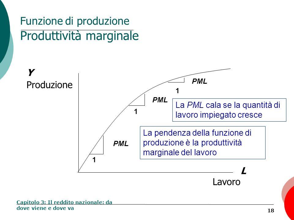 18 Funzione di produzione Produttività marginale Capitolo 3: Il reddito nazionale: da dove viene e dove va Y Produzione L Lavoro 1 PML 1 1 La pendenza