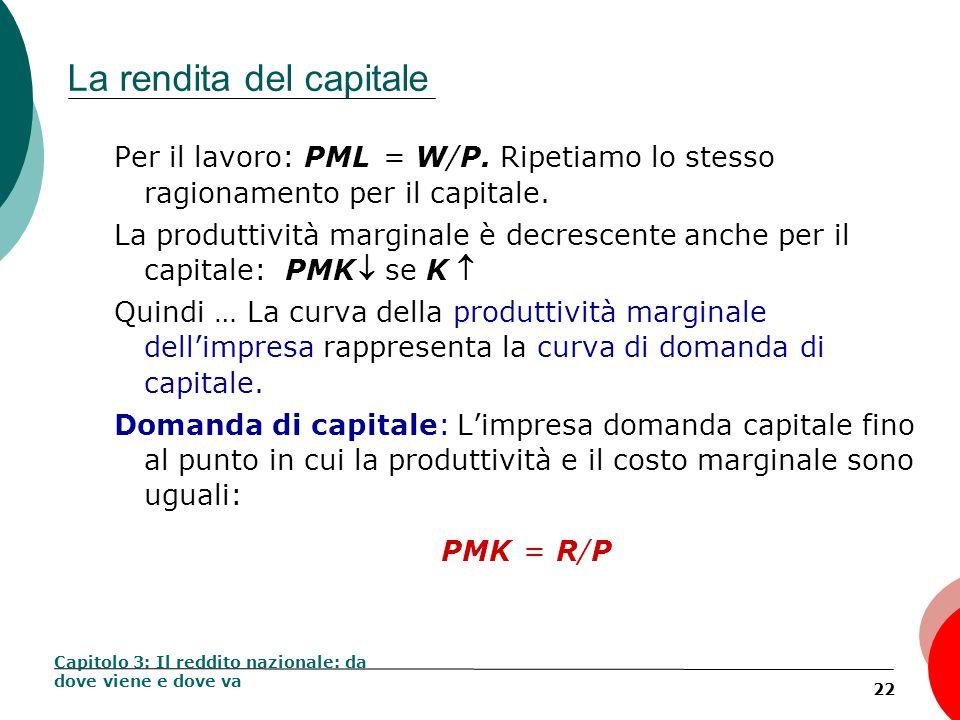 22 La rendita del capitale Per il lavoro: PML = W/P. Ripetiamo lo stesso ragionamento per il capitale. La produttività marginale è decrescente anche p