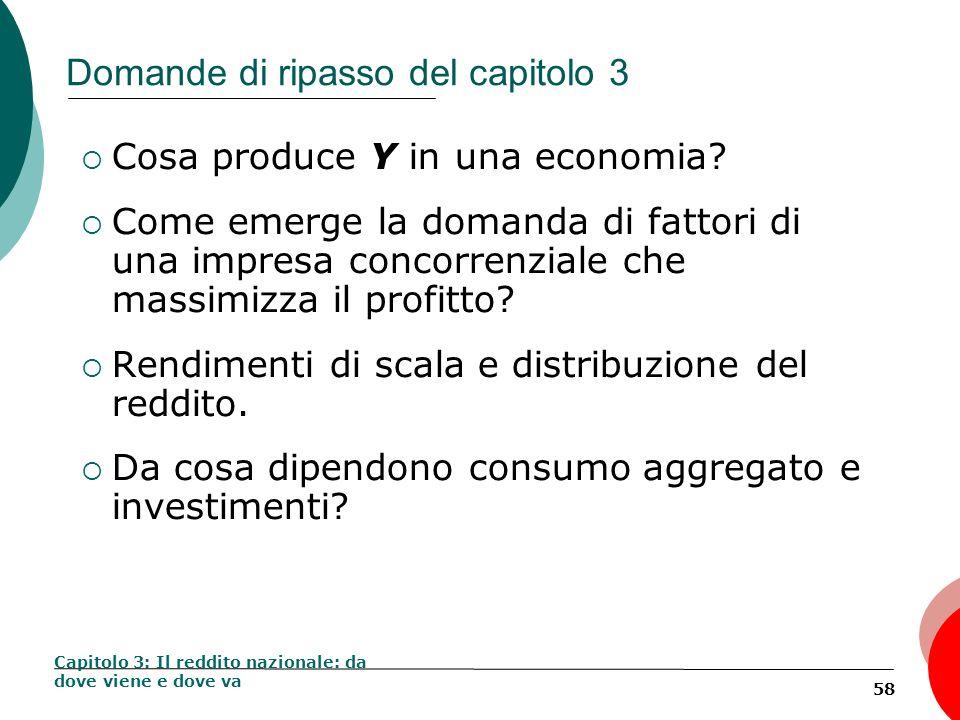 58 Domande di ripasso del capitolo 3 Cosa produce Y in una economia? Come emerge la domanda di fattori di una impresa concorrenziale che massimizza il