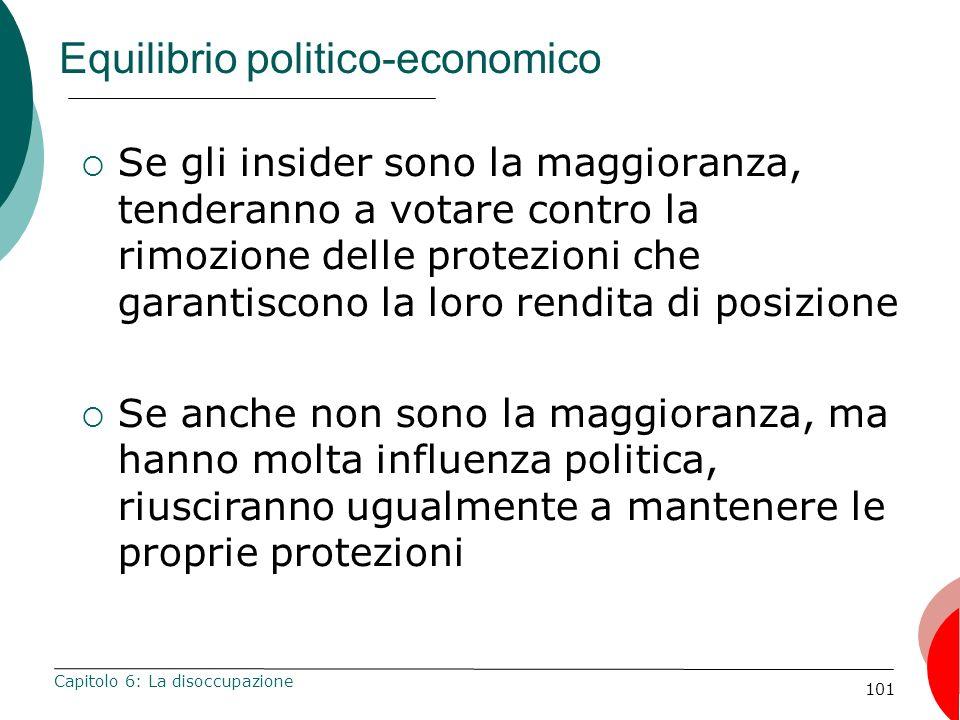 101 Equilibrio politico-economico Se gli insider sono la maggioranza, tenderanno a votare contro la rimozione delle protezioni che garantiscono la lor