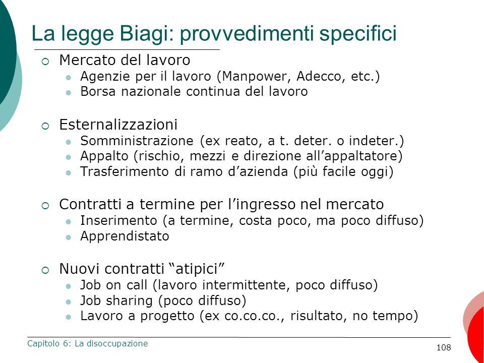 108 La legge Biagi: provvedimenti specifici Mercato del lavoro Agenzie per il lavoro (Manpower, Adecco, etc.) Borsa nazionale continua del lavoro Este