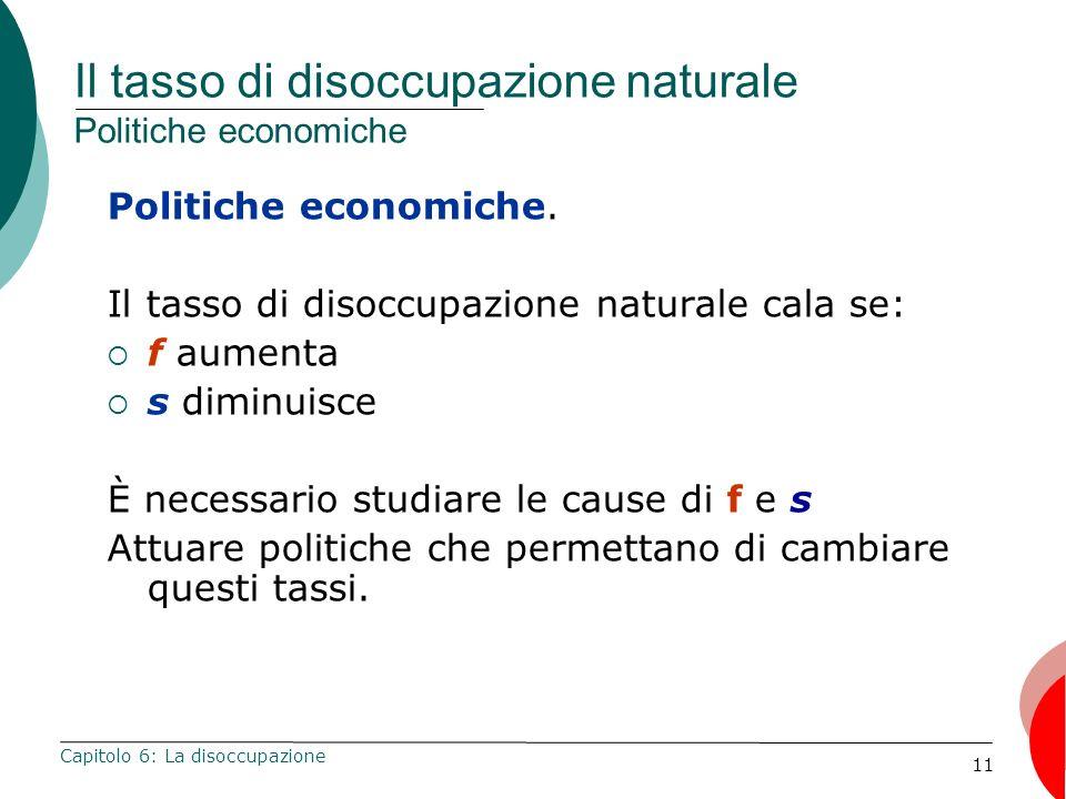 11 Il tasso di disoccupazione naturale Politiche economiche Politiche economiche. Il tasso di disoccupazione naturale cala se: f aumenta s diminuisce
