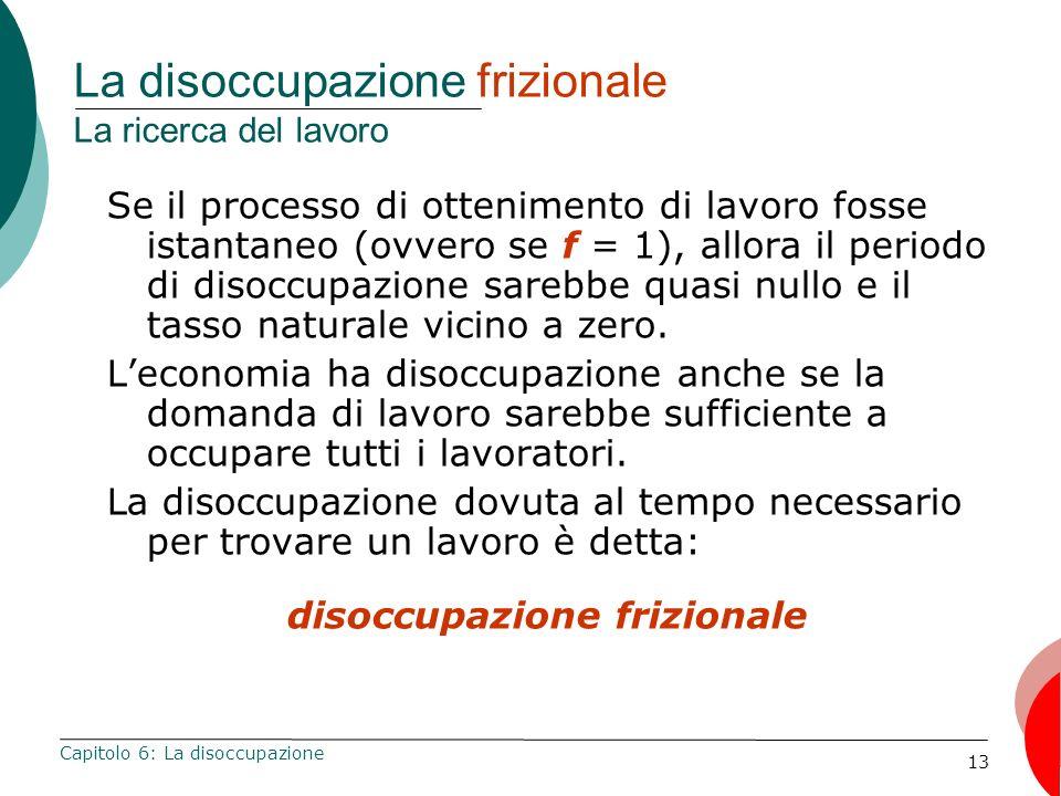 13 La disoccupazione frizionale La ricerca del lavoro Se il processo di ottenimento di lavoro fosse istantaneo (ovvero se f = 1), allora il periodo di