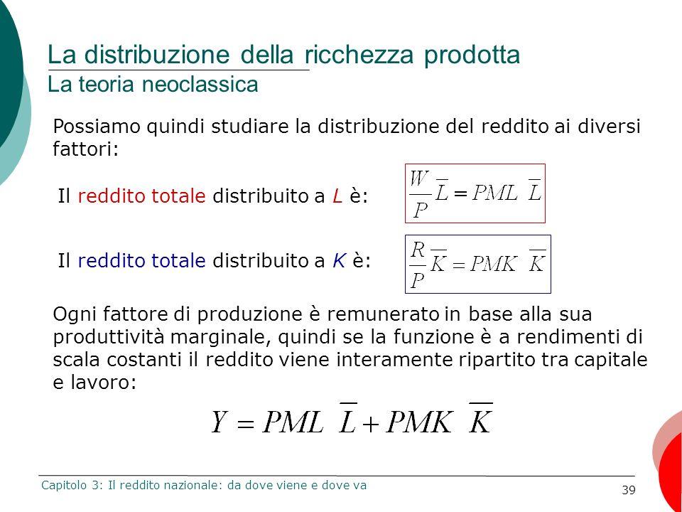39 La distribuzione della ricchezza prodotta La teoria neoclassica Capitolo 3: Il reddito nazionale: da dove viene e dove va Ogni fattore di produzion