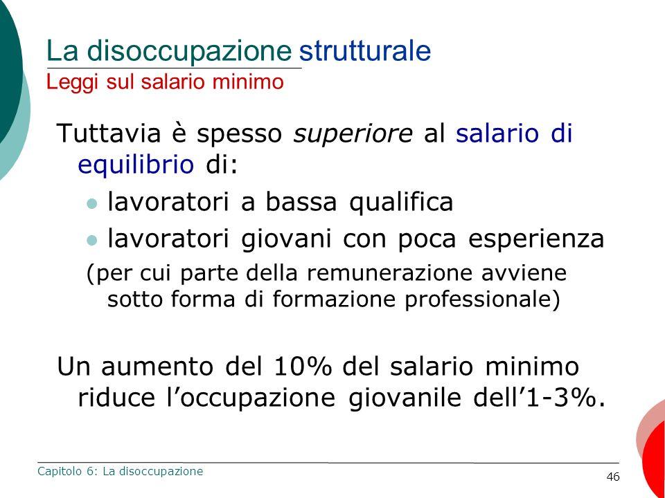 46 La disoccupazione strutturale Leggi sul salario minimo Tuttavia è spesso superiore al salario di equilibrio di: lavoratori a bassa qualifica lavora