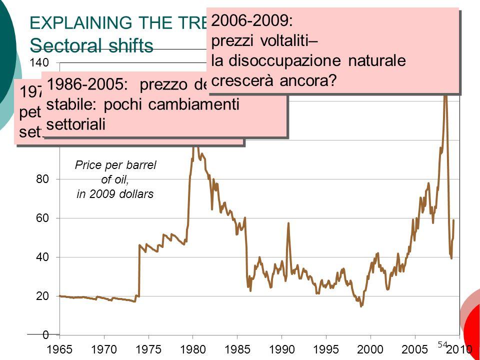 54 EXPLAINING THE TREND: Sectoral shifts 1970-1986: prezzi del petrolio volatili: cambiamenti settoriali 1986-2005: prezzo del petrolio stabile: pochi cambiamenti settoriali 2006-2009: prezzi voltaliti– la disoccupazione naturale crescerà ancora.