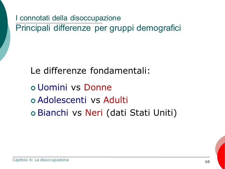 68 I connotati della disoccupazione Principali differenze per gruppi demografici Capitolo 6: La disoccupazione Le differenze fondamentali: Uomini vs Donne Adolescenti vs Adulti Bianchi vs Neri (dati Stati Uniti)