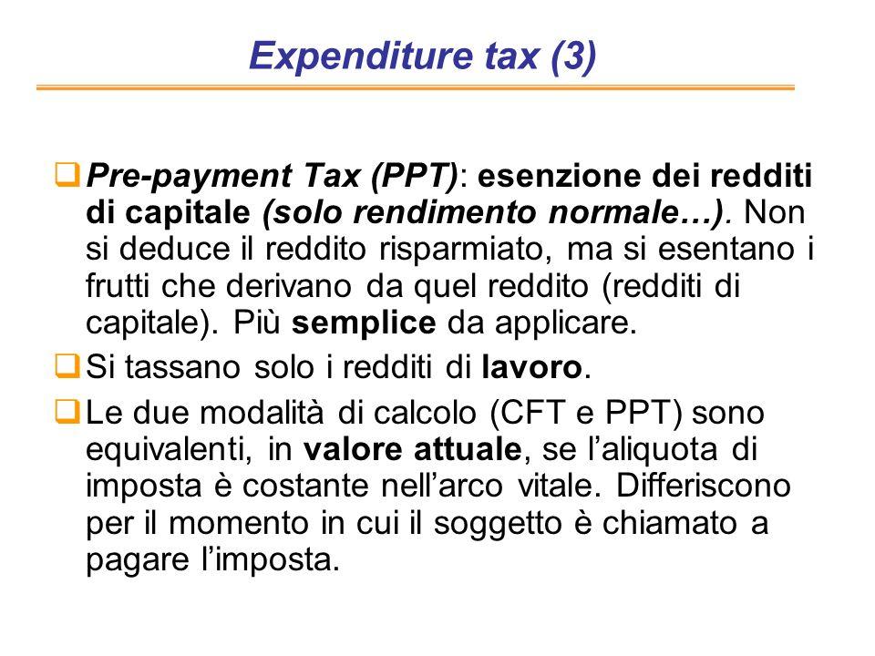 Expenditure tax (3) Pre-payment Tax (PPT): esenzione dei redditi di capitale (solo rendimento normale…). Non si deduce il reddito risparmiato, ma si e
