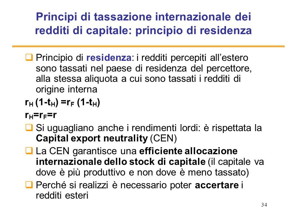 34 Principi di tassazione internazionale dei redditi di capitale: principio di residenza Principio di residenza: i redditi percepiti allestero sono ta