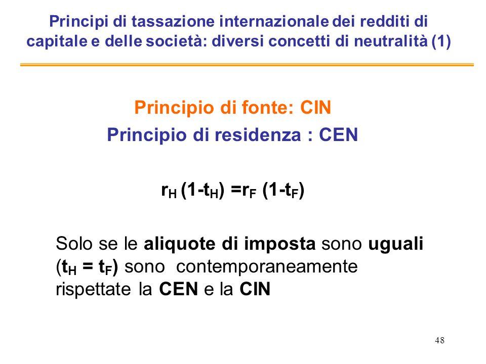 48 Principi di tassazione internazionale dei redditi di capitale e delle società: diversi concetti di neutralità (1) Principio di fonte: CIN Principio