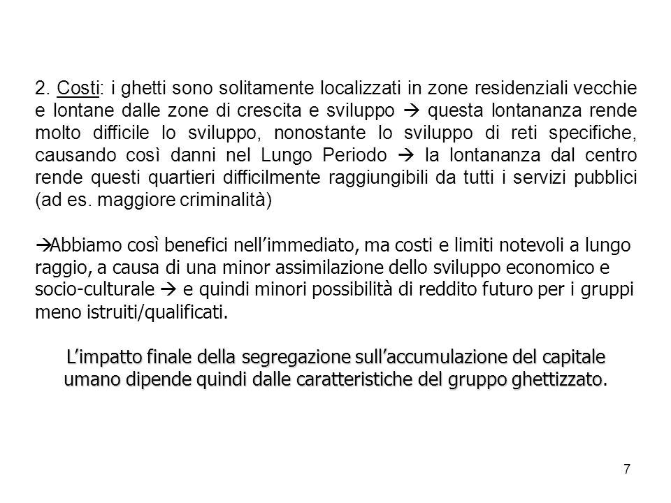7 2. Costi: i ghetti sono solitamente localizzati in zone residenziali vecchie e lontane dalle zone di crescita e sviluppo questa lontananza rende mol