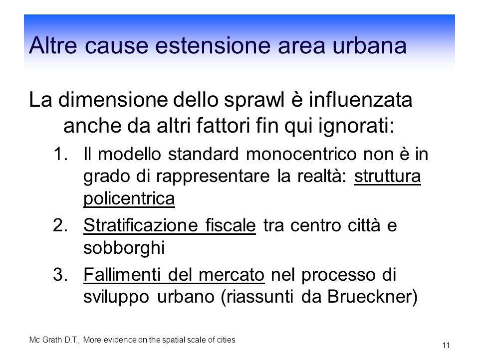 Mc Grath D.T., More evidence on the spatial scale of cities 10 Come per Brueckner-Fansler il modello di riferimento è Alonso-Muth-Mills Il parametro d