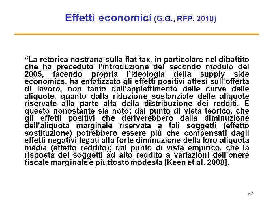22 Effetti economici (G.G., RFP, 2010) La retorica nostrana sulla flat tax, in particolare nel dibattito che ha preceduto lintroduzione del secondo mo