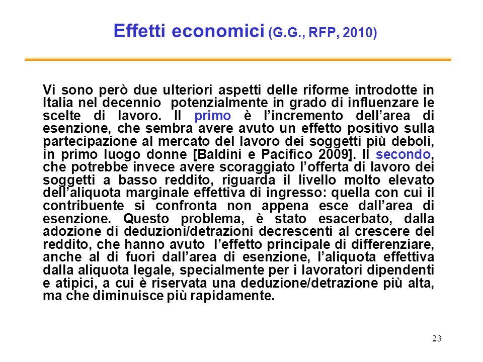 23 Effetti economici (G.G., RFP, 2010) Vi sono però due ulteriori aspetti delle riforme introdotte in Italia nel decennio potenzialmente in grado di i