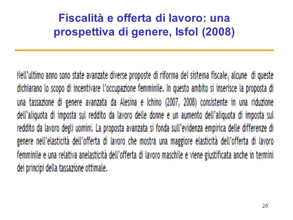 26 Fiscalità e offerta di lavoro: una prospettiva di genere, Isfol (2008)