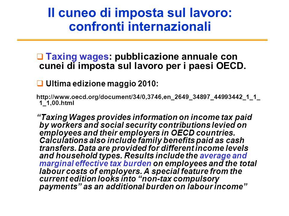 Il cuneo di imposta sul lavoro: confronti internazionali Taxing wages: pubblicazione annuale con cunei di imposta sul lavoro per i paesi OECD. Ultima