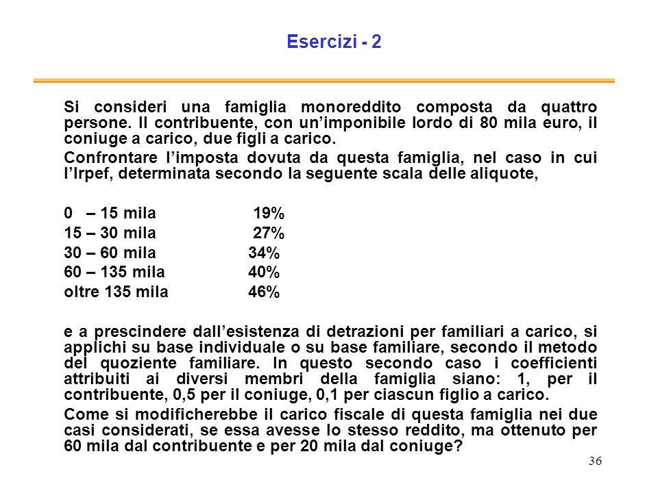 36 Esercizi - 2 Si consideri una famiglia monoreddito composta da quattro persone. Il contribuente, con unimponibile lordo di 80 mila euro, il coniuge