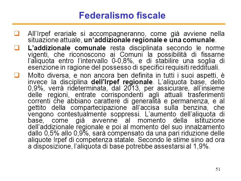 51 Federalismo fiscale AllIrpef erariale si accompagneranno, come già avviene nella situazione attuale, unaddizionale regionale e una comunale. Laddiz