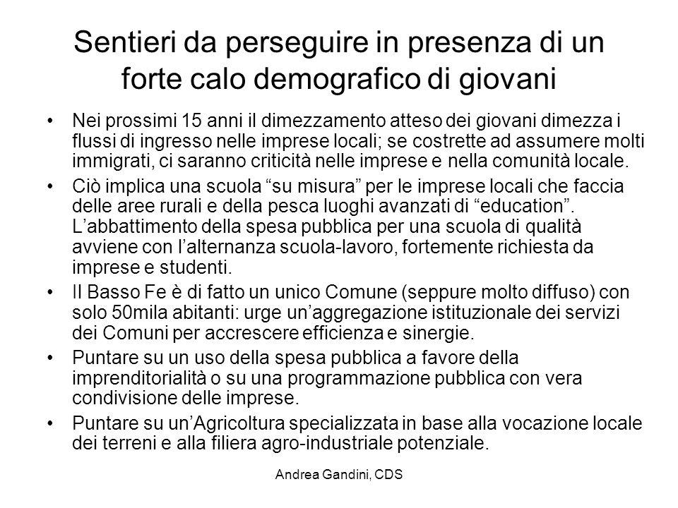Andrea Gandini, CDS Sentieri da perseguire in presenza di un forte calo demografico di giovani Nei prossimi 15 anni il dimezzamento atteso dei giovani