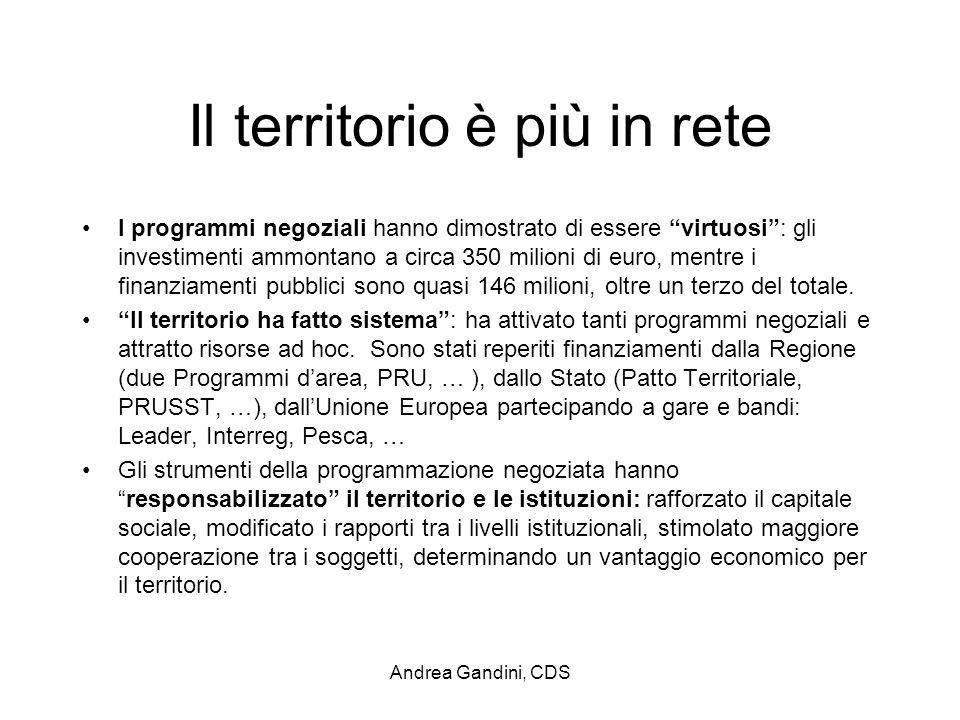 Andrea Gandini, CDS Il territorio è più in rete I programmi negoziali hanno dimostrato di essere virtuosi: gli investimenti ammontano a circa 350 mili