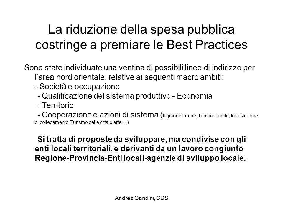 Andrea Gandini, CDS La riduzione della spesa pubblica costringe a premiare le Best Practices Sono state individuate una ventina di possibili linee di