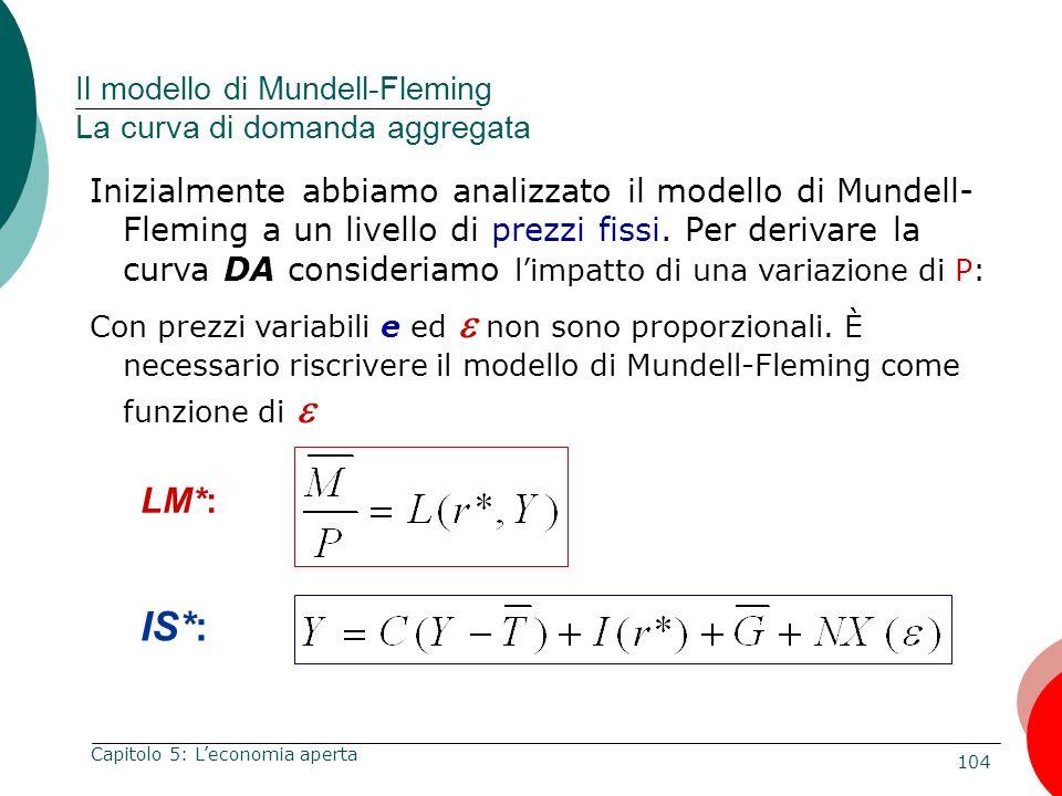 104 Capitolo 5: Leconomia aperta Inizialmente abbiamo analizzato il modello di Mundell- Fleming a un livello di prezzi fissi. Per derivare la curva DA