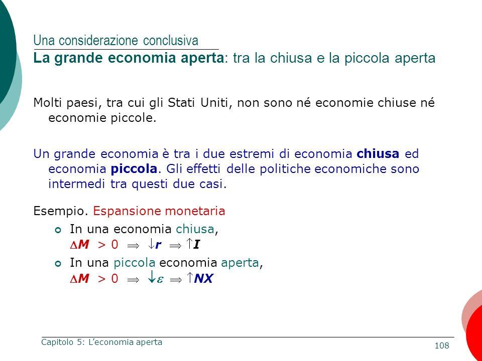108 Capitolo 5: Leconomia aperta Una considerazione conclusiva La grande economia aperta: tra la chiusa e la piccola aperta Molti paesi, tra cui gli S