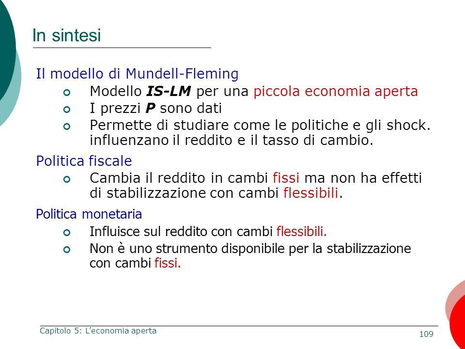109 Capitolo 5: Leconomia aperta In sintesi Il modello di Mundell-Fleming Modello IS-LM per una piccola economia aperta I prezzi P sono dati Permette