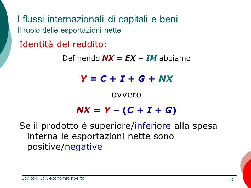 12 Capitolo 5: Leconomia aperta I flussi internazionali di capitali e beni Il ruolo delle esportazioni nette Identità del reddito: Definendo NX = EX –