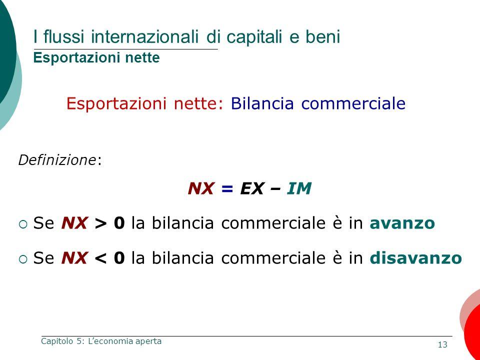 13 Capitolo 5: Leconomia aperta I flussi internazionali di capitali e beni Esportazioni nette Esportazioni nette: Bilancia commerciale Definizione: NX
