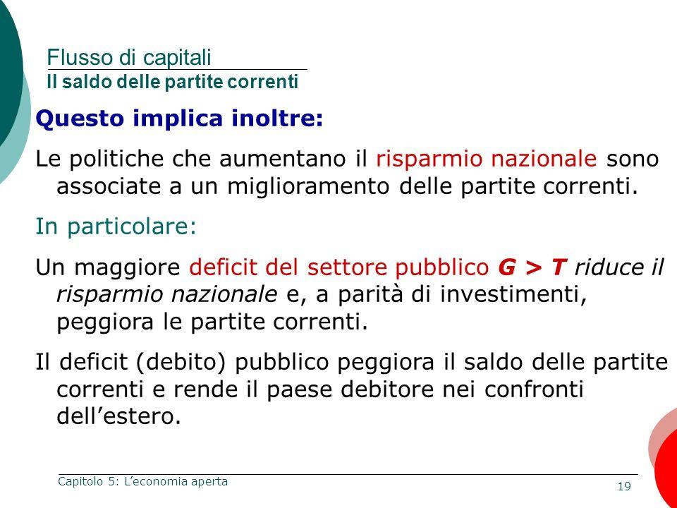 19 Capitolo 5: Leconomia aperta Flusso di capitali Il saldo delle partite correnti Questo implica inoltre: Le politiche che aumentano il risparmio naz
