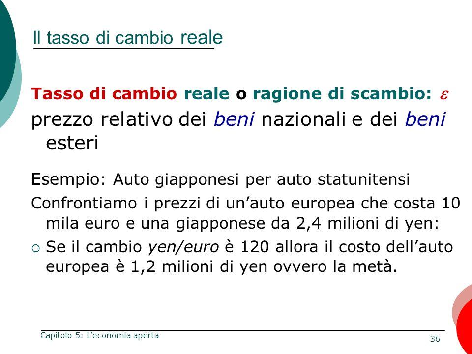 36 Capitolo 5: Leconomia aperta Il tasso di cambio reale Tasso di cambio reale o ragione di scambio: prezzo relativo dei beni nazionali e dei beni est