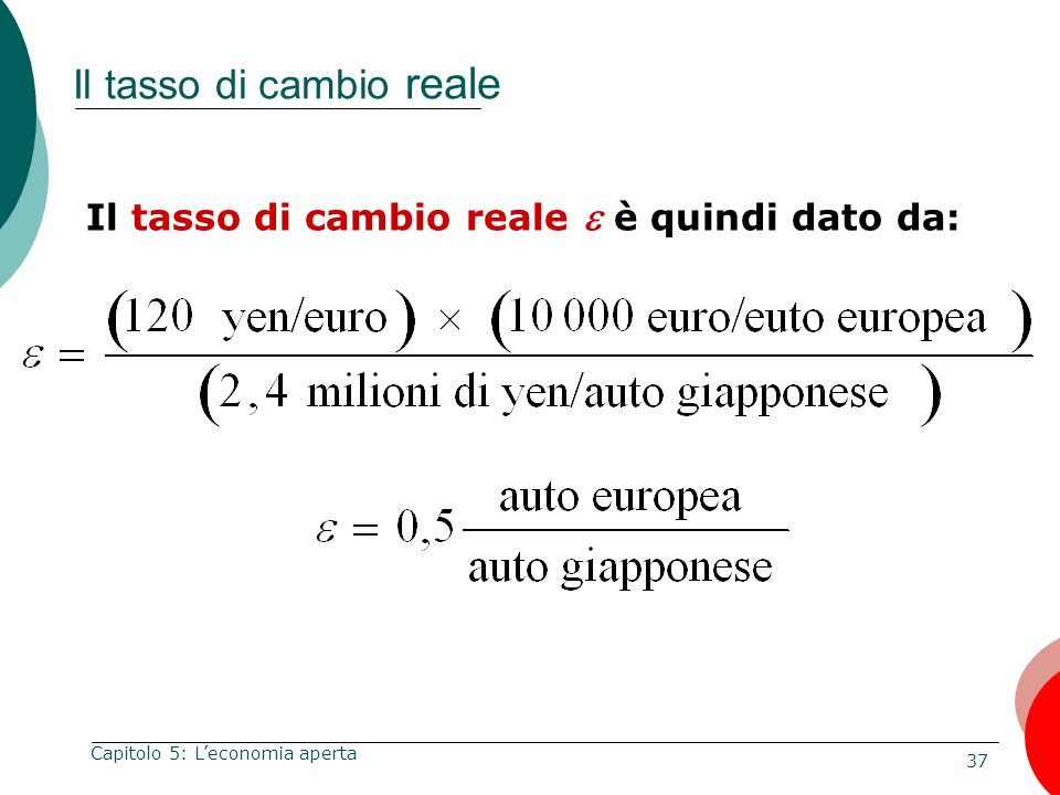 37 Capitolo 5: Leconomia aperta Il tasso di cambio reale Il tasso di cambio reale è quindi dato da:
