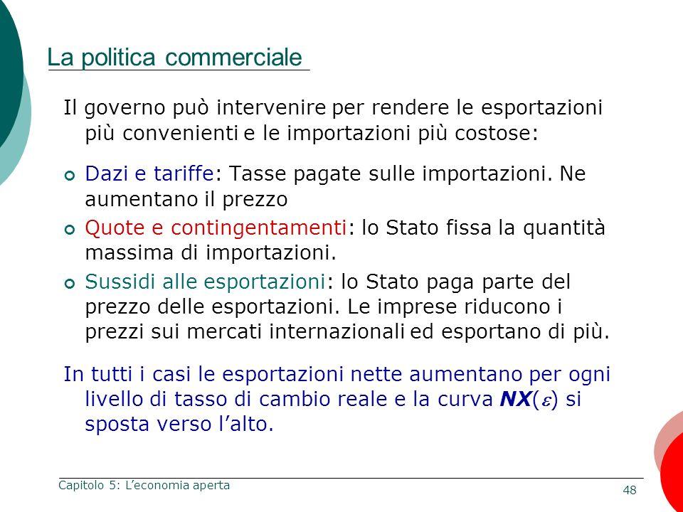 48 Capitolo 5: Leconomia aperta La politica commerciale Il governo può intervenire per rendere le esportazioni più convenienti e le importazioni più c