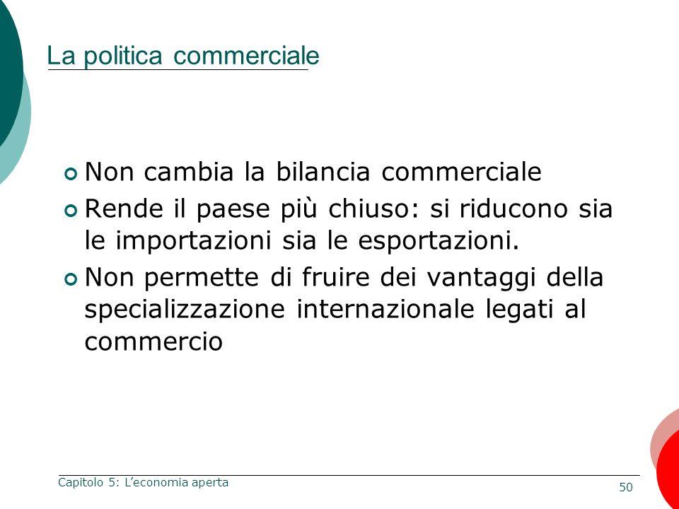 50 Capitolo 5: Leconomia aperta La politica commerciale Non cambia la bilancia commerciale Rende il paese più chiuso: si riducono sia le importazioni