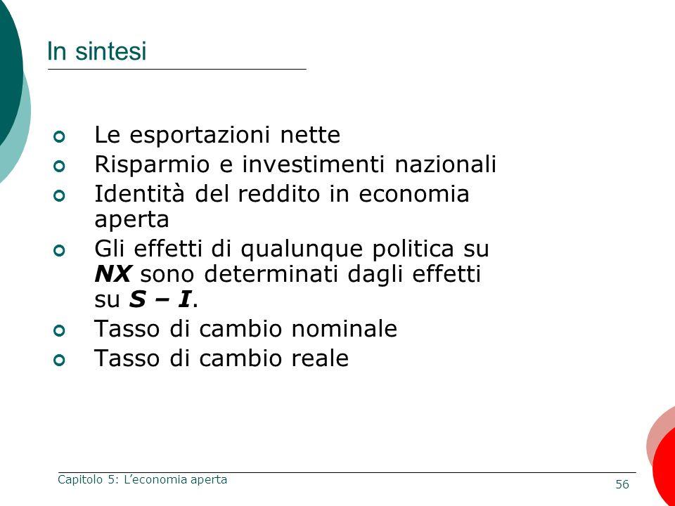 56 Capitolo 5: Leconomia aperta In sintesi Le esportazioni nette Risparmio e investimenti nazionali Identità del reddito in economia aperta Gli effett