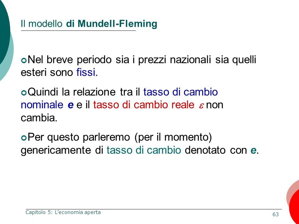63 Capitolo 5: Leconomia aperta Il modello di Mundell-Fleming Nel breve periodo sia i prezzi nazionali sia quelli esteri sono fissi. Quindi la relazio