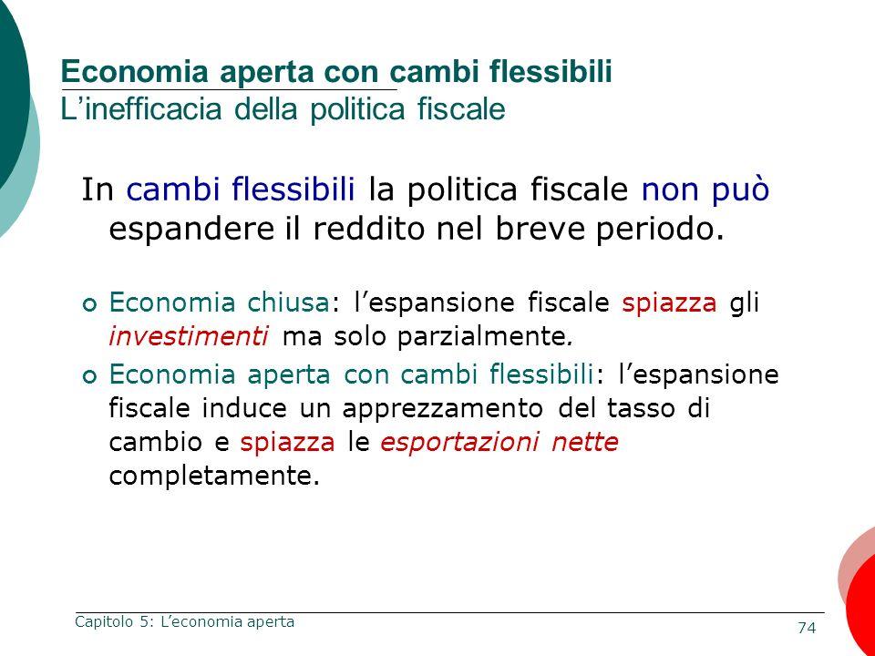 74 Capitolo 5: Leconomia aperta Economia aperta con cambi flessibili Linefficacia della politica fiscale In cambi flessibili la politica fiscale non p