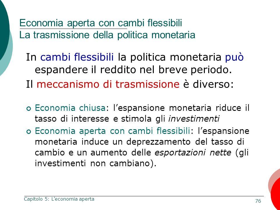 76 Capitolo 5: Leconomia aperta Economia aperta con cambi flessibili La trasmissione della politica monetaria In cambi flessibili la politica monetari